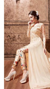 Dashing Peach Floral Lehenga Trouser Suit